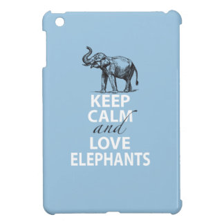 Elephant Gift Keep Calm and Love Elephants Print iPad Mini Cover
