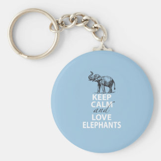Elephant Gift Keep Calm and Love Elephants Print Key Ring