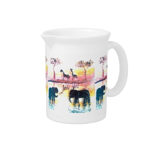 Elephant, Giraffe Safari Sunset Art Beverage Pitchers