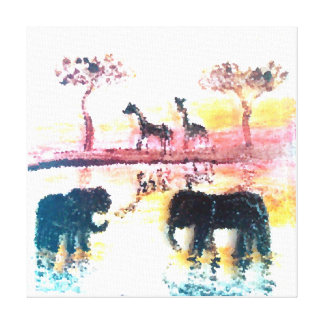 Elephant, Giraffe Safari Sunset Art Canvas Prints