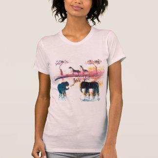 Elephant, Giraffe Safari Sunset Art T-Shirt