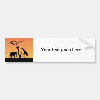 Elephant & Giraffe silhouette bumper sticker