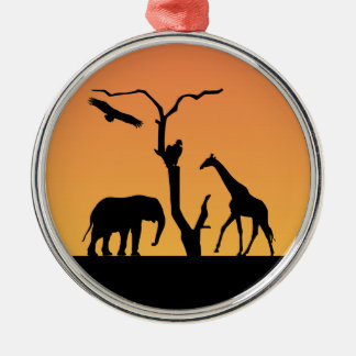 Elephant & Giraffe Silhouette sunset ornament