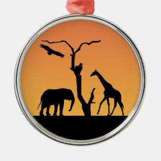 Elephant & Giraffe Silhouette sunset ornament