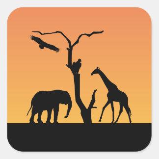 Elephant & Giraffe silhouette sunset stickers