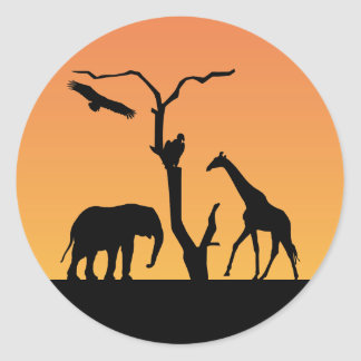 Elephant & Giraffe silhouette sunset stickers
