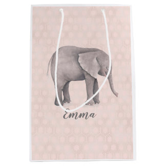 Elephant Girl with Pink Geometric Background Medium Gift Bag