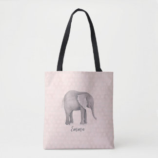 Elephant Girl with Pink Geometric Background Tote Bag