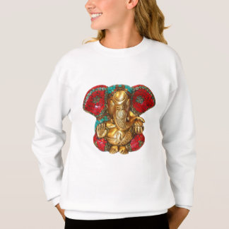 Elephant Head Brass Statue Indian Hindu Temple Art Sweatshirt