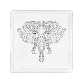 Elephant Head Doodle 2 Acrylic Tray