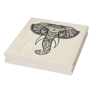 Elephant Head Doodle Rubber Stamp