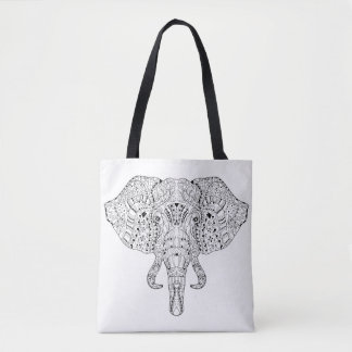 Elephant Head Doodle Sketch 2 Tote Bag