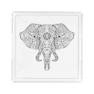 Elephant Head Doodle Sketch Acrylic Tray