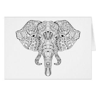 Elephant Head Doodle Sketch Card