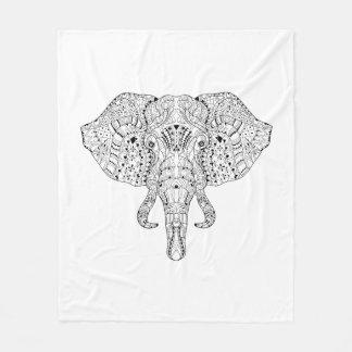 Elephant Head Doodle Sketch Fleece Blanket