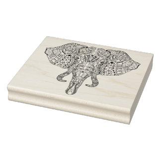 Elephant Head Doodle Sketch Rubber Stamp