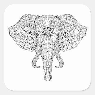 Elephant Head Doodle Sketch Square Sticker