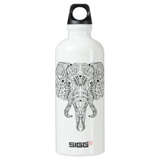 Elephant Head Doodle Sketch Water Bottle