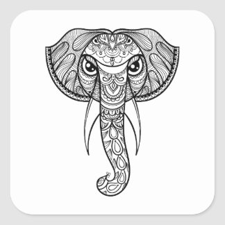 Elephant Head Doodle Square Sticker
