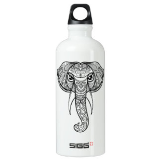 Elephant Head Doodle Water Bottle