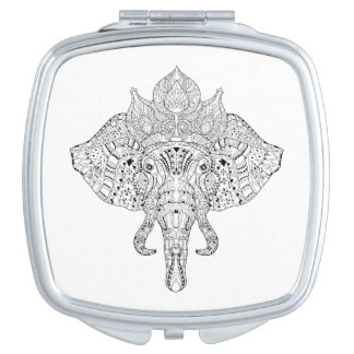 Elephant Head Inspired Doodle Compact Mirror