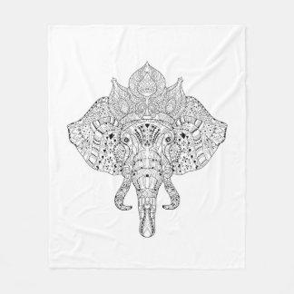 Elephant Head Inspired Doodle Fleece Blanket