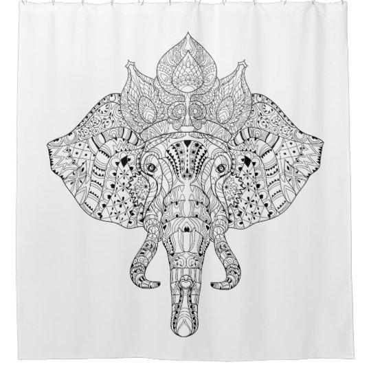 Elephant Head Inspired Doodle Shower Curtain