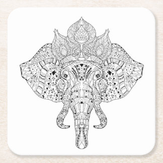 Elephant Head Inspired Doodle Square Paper Coaster