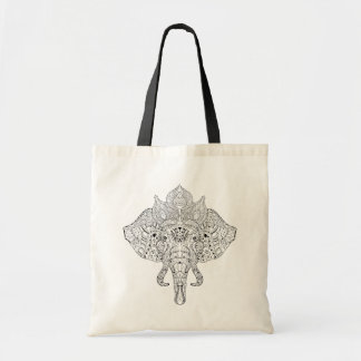 Elephant Head Inspired Doodle Tote Bag
