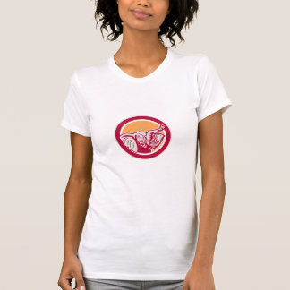 Elephant Head Tusk Circle Retro Shirts