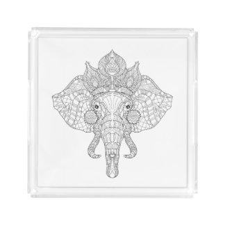 Elephant Head Zendoodle Acrylic Tray