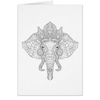 Elephant Head Zendoodle Card