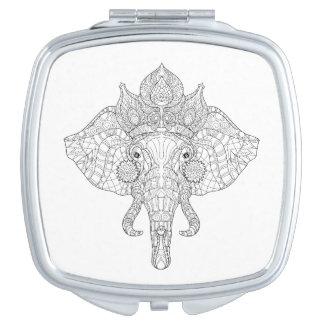 Elephant Head Zendoodle Makeup Mirror