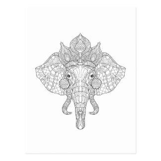 Elephant Head Zendoodle Postcard