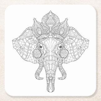 Elephant Head Zendoodle Square Paper Coaster
