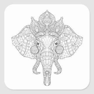 Elephant Head Zendoodle Square Sticker
