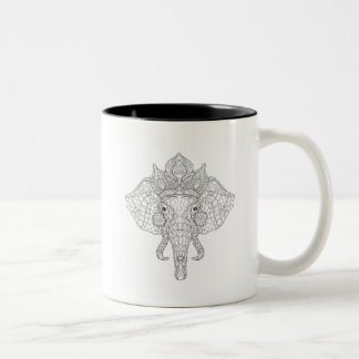 Elephant Head Zendoodle Two-Tone Coffee Mug