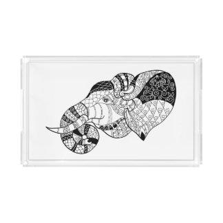 Elephant Head Zenstyle Doodle Acrylic Tray