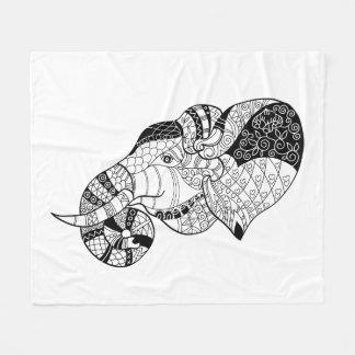 Elephant Head Zenstyle Doodle Fleece Blanket