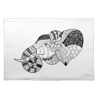 Elephant Head Zenstyle Doodle Placemat