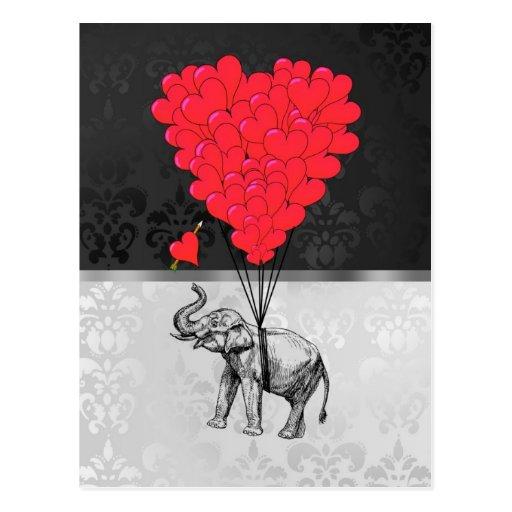 Elephant & heart balloons post cards