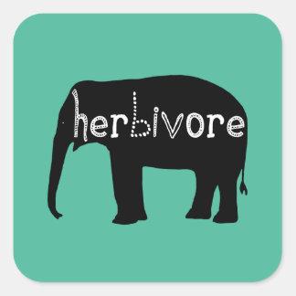 Elephant - Herbivore - Blue Square Sticker