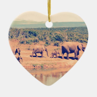 Elephant herd christmas ornament