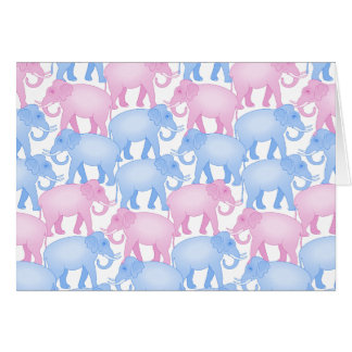 Elephant Herd in Pink and Blue Greeting Card