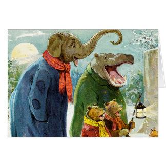 Elephant, Hippopotamus & Bears Go Caroling Card