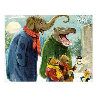 Elephant, Hippopotamus & Bears Go Caroling Postcard
