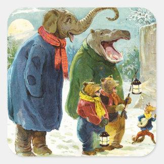 Elephant, Hippopotamus & Bears Go Caroling Square Sticker