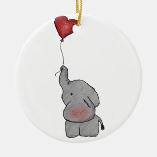 Elephant Holding Balloon Christmas Ornament