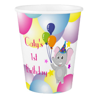 Elephant holding balloons Birthday party Paper Cup