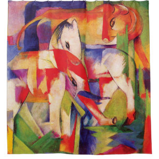 Elephant, Horse, Cattle, Winter by Franz Marc Shower Curtain
